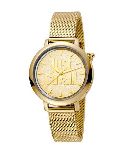 Just Cavalli 34Mm Logo Stainless Steel Bracelet Watch, Gold