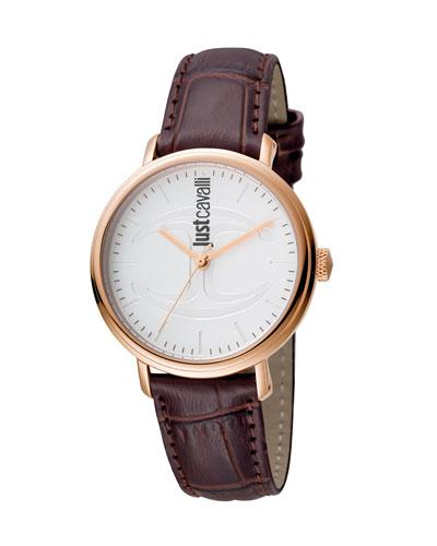 Just Cavalli 34Mm Cfc Stainless Steel Watch W/ Leather Strap, Brown