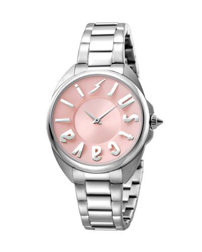 Just Cavalli 34Mm Logo Stainless Steel Bracelet Watch, Pink