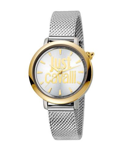 Just Cavalli 34Mm Logo Two-Tone Stainless Steel Bracelet Watch In Silver