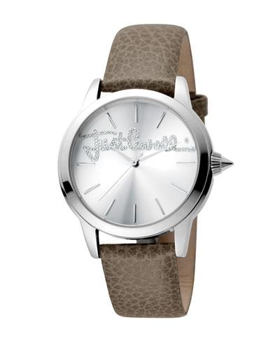 Just Cavalli 36Mm Logo Watch W/ Leather Strap, Gray