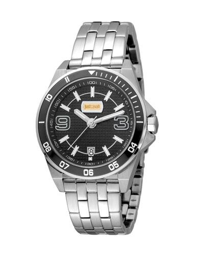 Just Cavalli 40Mm Men's Stainless Steel Chronograph Watch, Black