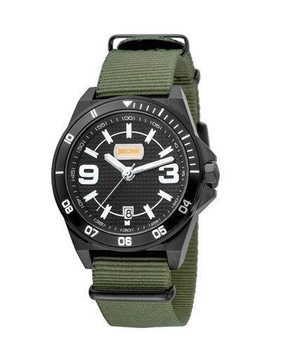 Just Cavalli 40Mm Men's Stainless Steel Chronograph Watch W/ Nylon Strap, Green