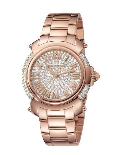 Roberto Cavalli 40Mm Rose Golden Stainless Steel Bracelet Watch In Pink/Gold