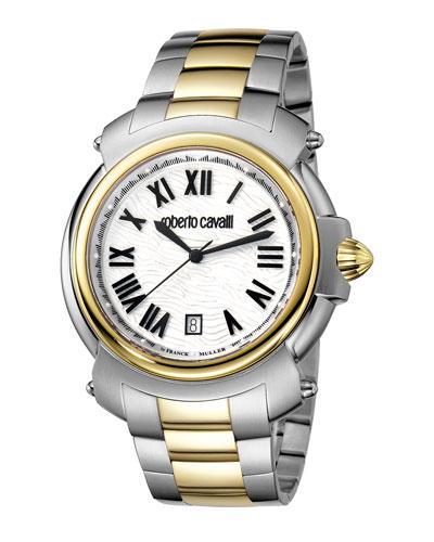 Roberto Cavalli 44Mm Men's Two-Tone Stainless Steel Bracelet Watch, Yellow In Silver
