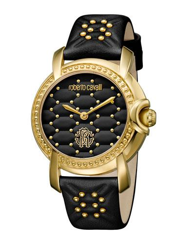 Roberto Cavalli 36Mm Studded Watch W/ Leather Strap, Black