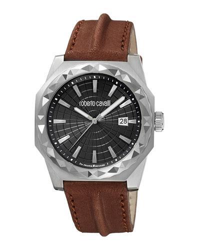 Roberto Cavalli Men's 43Mm Pyramid-Bezel Watch W/ Leather Strap, Brown