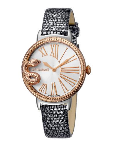 Roberto Cavalli 34Mm Oversize Snake Watch W/ Leather Strap, Silver/Rose