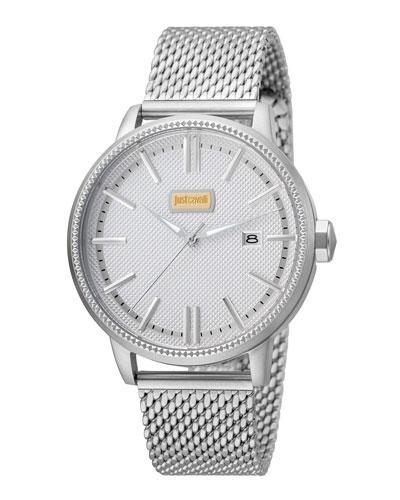 Just Cavalli 42Mm Men's Relaxed Patch Watch W/ Bracelet, Steel In Silver