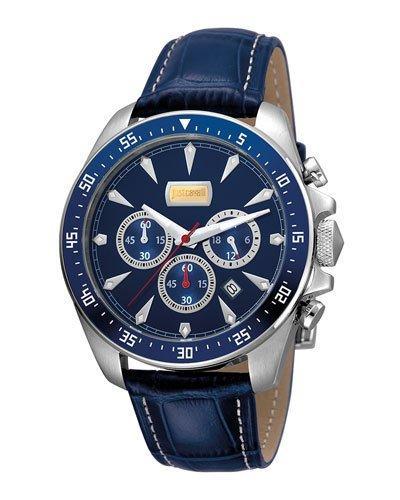 Just Cavalli 44Mm Men's Sport Chrono Watch W/ Calf Leather Strap, Blue