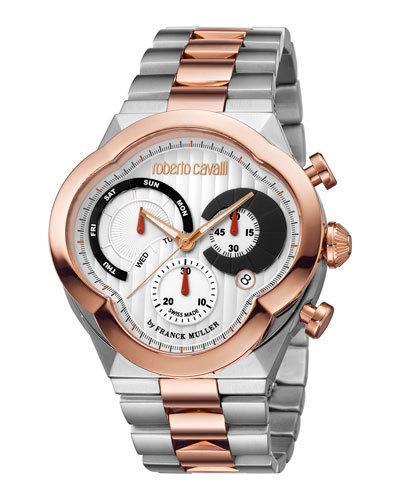 Roberto Cavalli Men's 47Mm Clover Chronograph Watch W/ Bracelet, Rose/Steel In Multi