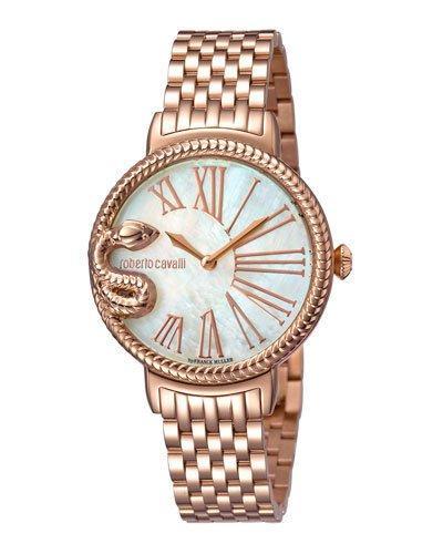 Roberto Cavalli 34Mm Oversize Snake Watch W/ Bracelet, Rose/White In Pink/Gold