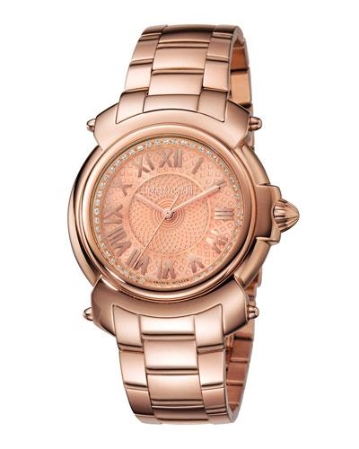 Roberto Cavalli 35Mm Bracelet Watch, Rose Ip In Pink/Gold
