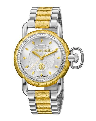 Roberto Cavalli 36Mm Moving Crown Watch W/ Bracelet Strap, Two-Tone In Multi