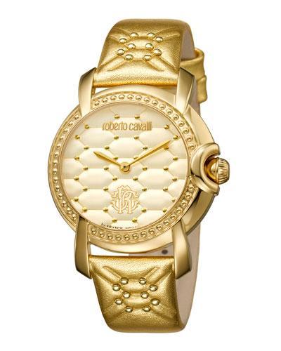 Roberto Cavalli 36Mm Studded Watch W/ Leather Strap, Golden