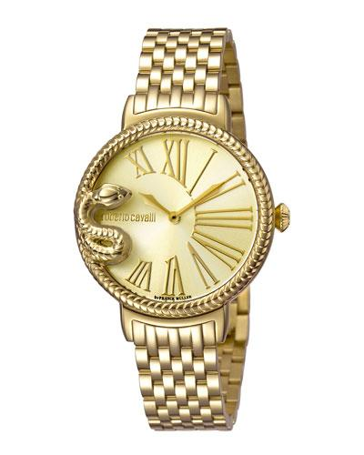 Roberto Cavalli 34Mm Oversize Snake Watch W/ Bracelet, Golden/Champagne