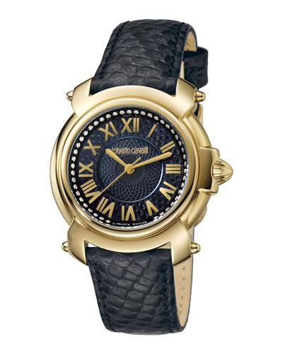 Roberto Cavalli 35Mm Ip Watch W/ Black Leather Strap