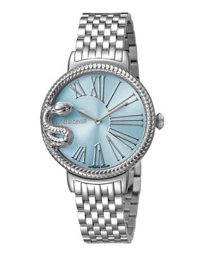Roberto Cavalli 34Mm Oversize Snake Watch W/ Bracelet, Blue/Steel