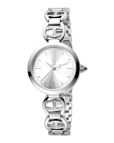 Just Cavalli 28Mm Stainless Steel Logo Watch W/ Bracelet In Silver