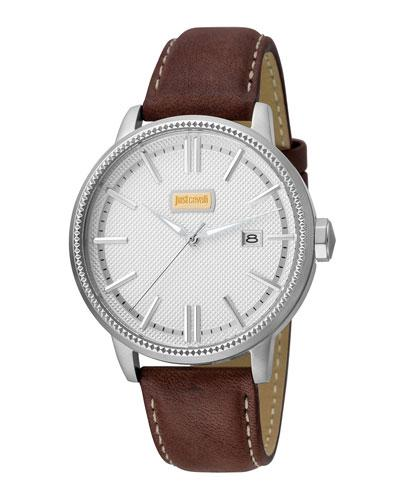Just Cavalli 42Mm Men's Relaxed Patch Watch W/ Calf Leather Strap, Brown