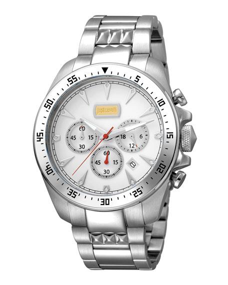 Just Cavalli 44Mm Men's Sport Chrono Watch W/ Bracelet, Steel In Silver