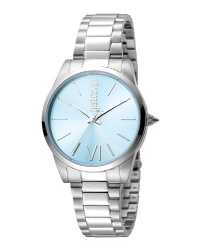 Just Cavalli 32Mm Relaxed Watch W/ Bracelet Strap, Blue Dial