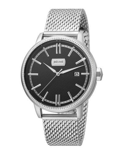 Just Cavalli 42Mm Men's Relaxed Patch Watch W/ Bracelet, Black/Steel