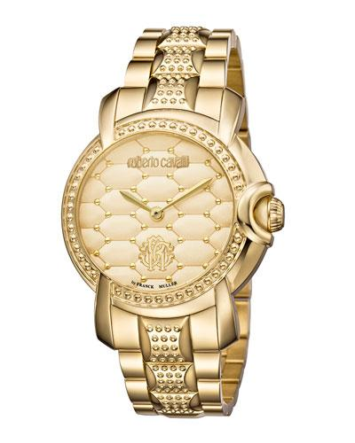 Roberto Cavalli 36Mm Studded Bracelet Watch W/ Golden Dial