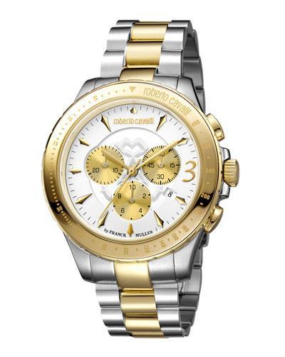 Roberto Cavalli Men's 43Mm Round Chrono Watch W/ Bracelet, Two-Tone In Multi