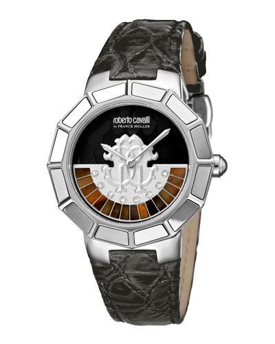 Roberto Cavalli 37Mm Men's Watch W/ Rotating Diamond Dial & Leather Strap, Black/Steel