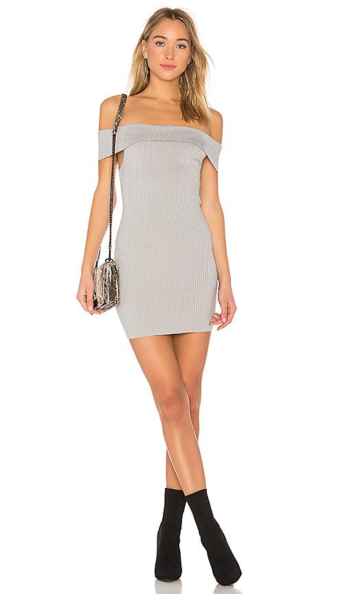 By The Way. Tara Off Shoulder Knit Mini In Gray