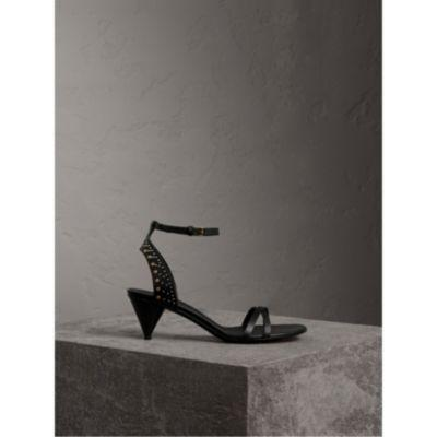 Burberry Riveted Leather Cone-Heel Sandals In Black