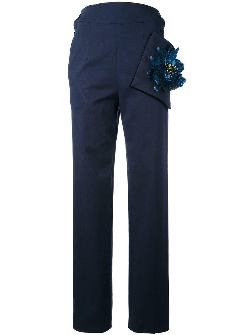 Christopher Kane Highwaisted Trousers With Flower Pocket In Blue