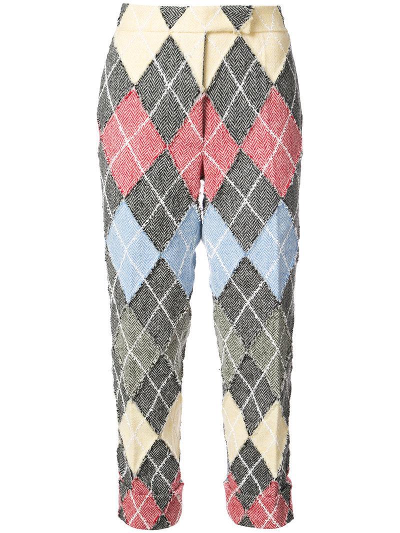 Thom Browne Classic Backstrap Trouser With Argyle Suiting Applique In Herringbone Harris Tweed