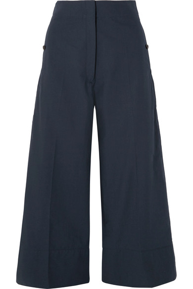 Lemaire Cropped Cotton-Poplin Wide-Leg Pants In Navy