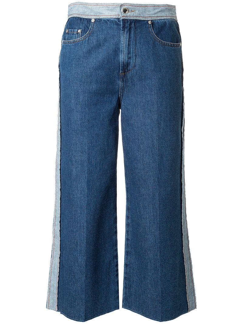 Red Valentino Panel Detail Cropped Jeans
