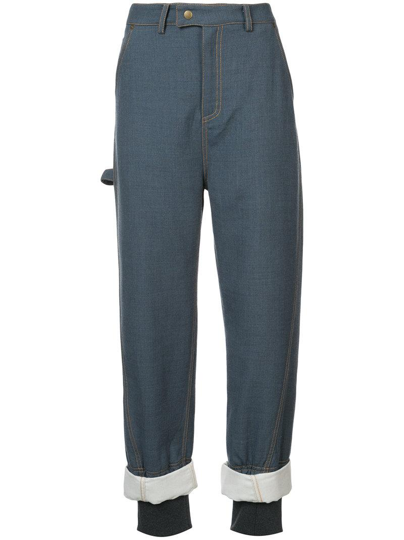 Rosie Assoulin Embellished Cuff Trousers In Blue