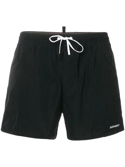 Dsquared2 Contrast Panel Swim Shorts In Black