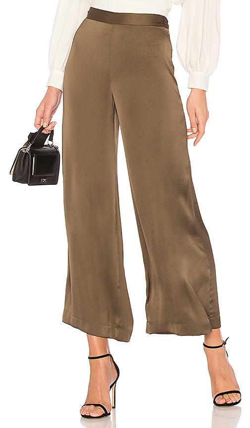 Rachel Comey High-Rise Wide-Leg Satin Trousers In Olive