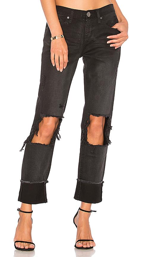 One Teaspoon Awesome Baggies Boyfriend Jeans In Black Anchor