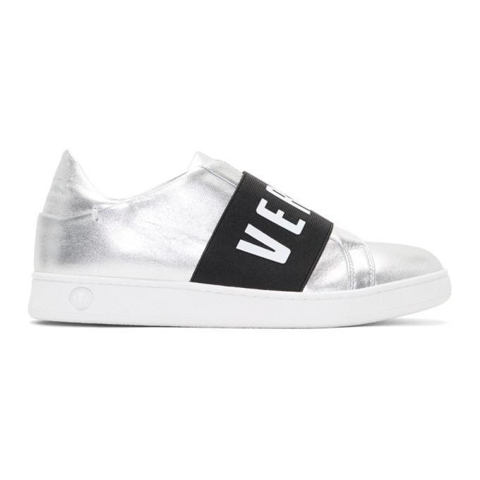 Versus Silver Logo Band Slip-On Sneakers