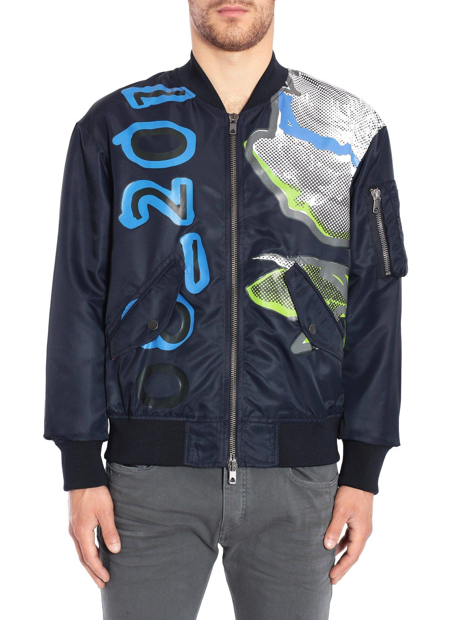 Diesel Black Gold Jibomb-Print Jacket In Blu