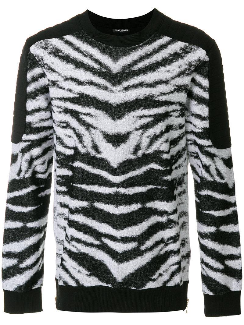 Balmain Zebra Print Sweatshirt