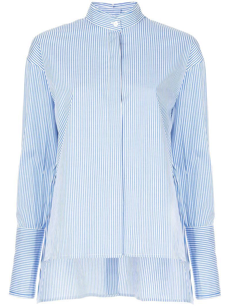 Dion Lee Button Back Placket Stripe Cotton Poplin High Low Shirt