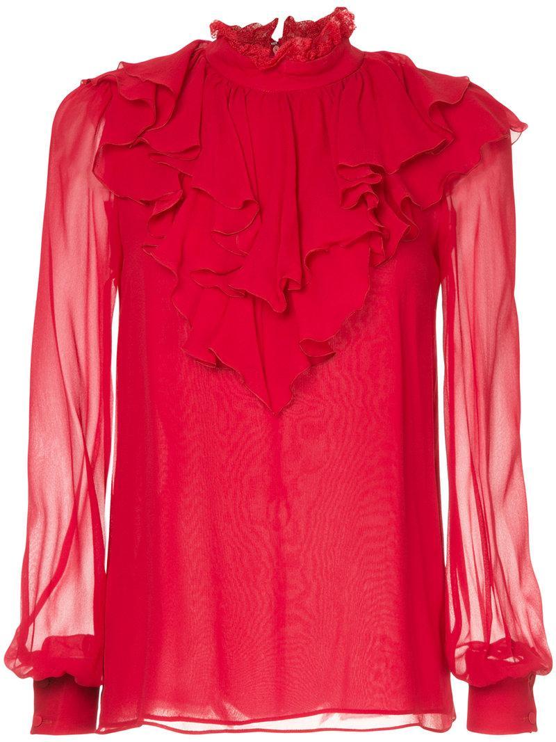 Giambattista Valli Frill Neck Blouse - Red