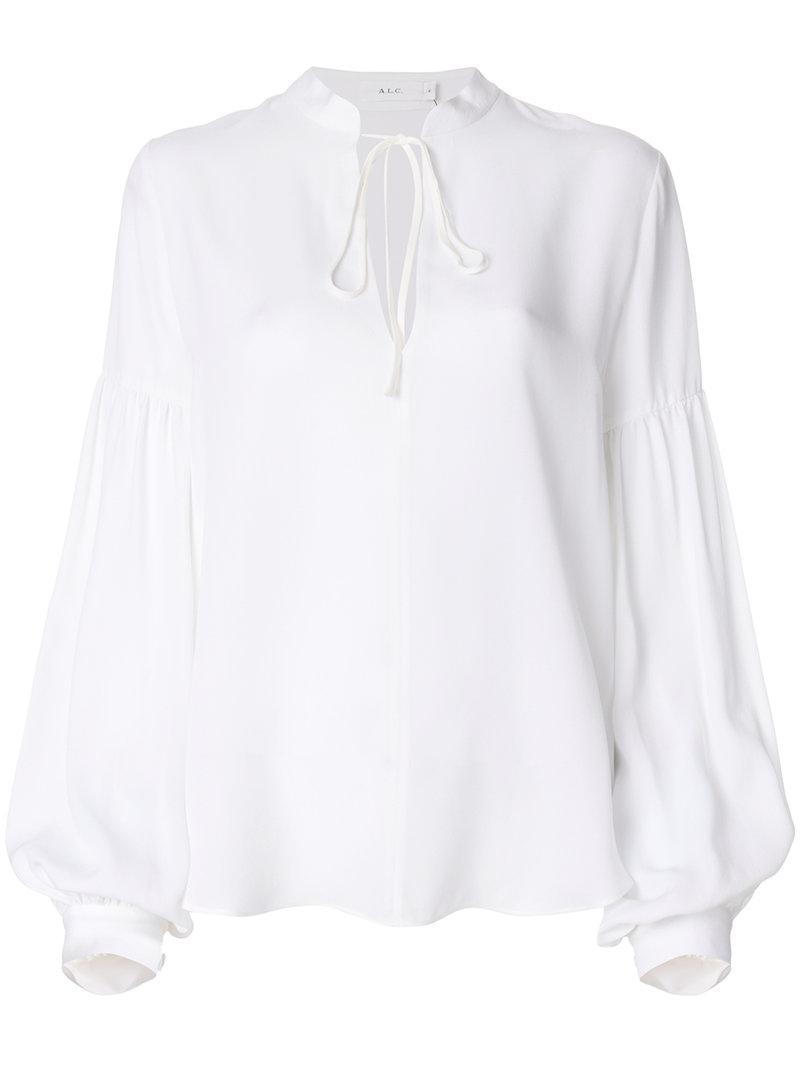 A.L.C Tie Neck Detail Blouse In White