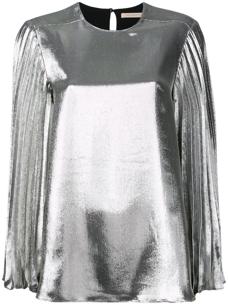Christopher Kane LamÉ Pleated Sleeve Blouse In Metallic