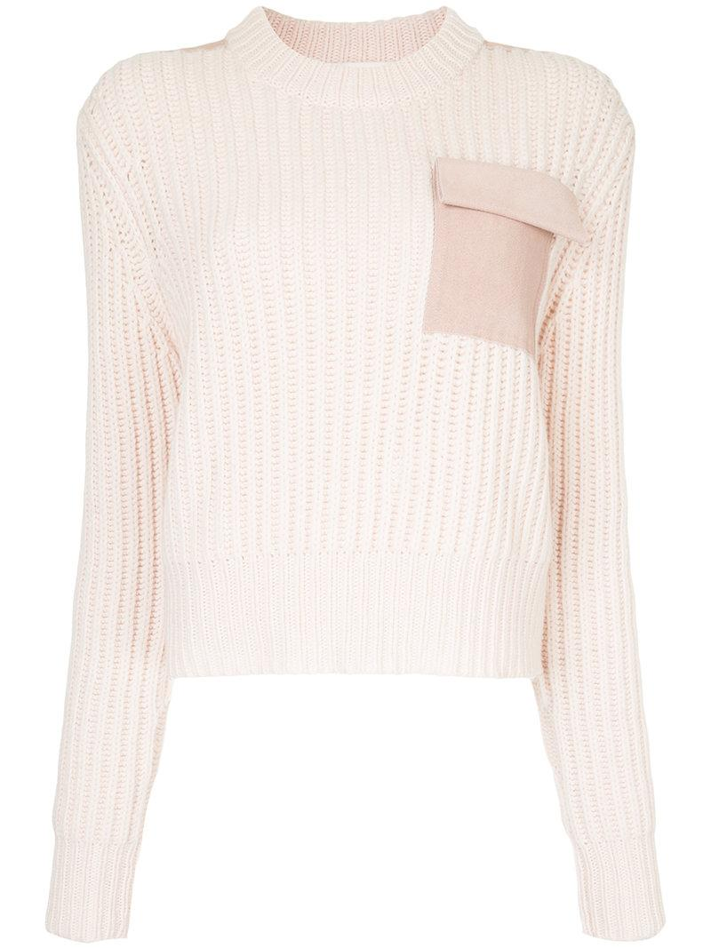 Dion Lee Long Sleeve Pocket Sweater In Pink