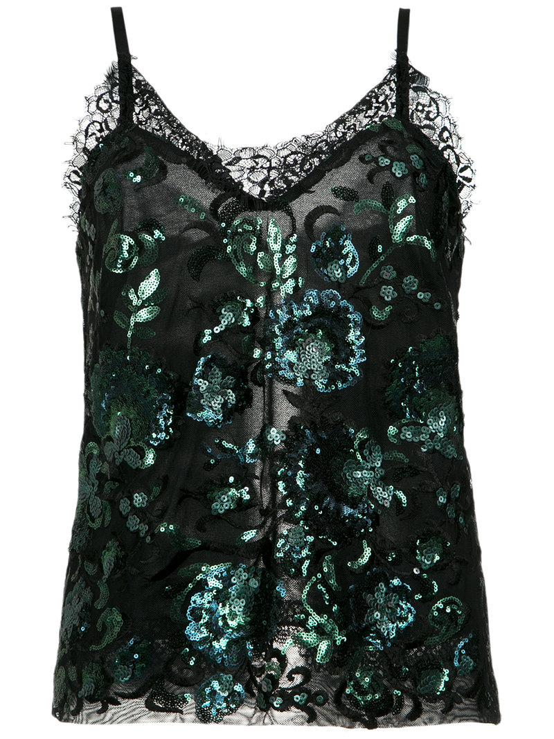 À La GarÇOnne Sequin Embroidered Blouse In Black
