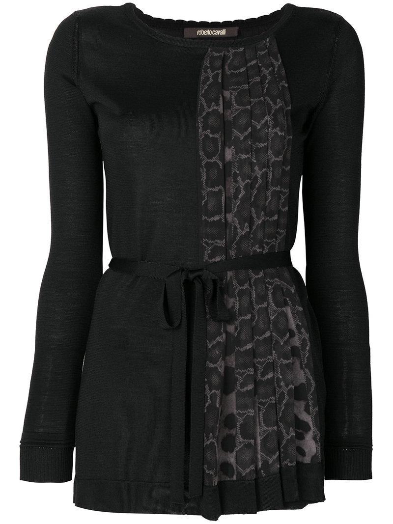 Roberto Cavalli Leopard Print Pleat Panelled Blouse - Black